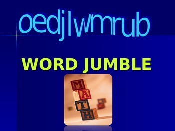 Number System & Algebra Word Jumble Review