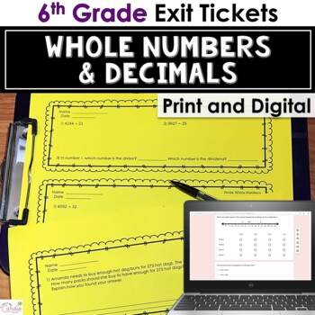 Exit Tickets - Whole Numbers & Decimals