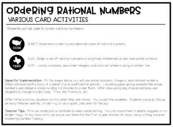 Ordering Rational Numbers: Line Up Cards