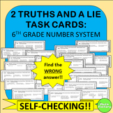 Greatest Common Factor, LCM, Pos. Neg. Numbers Task Cards - 2 Truths and a Lie