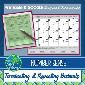 Terminating and Repeating Decimals Worksheets and Partner Activity