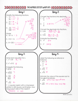 Number System - Warm Ups, Bell Ringers, Bell Work 8.NS.A.1 Go Math