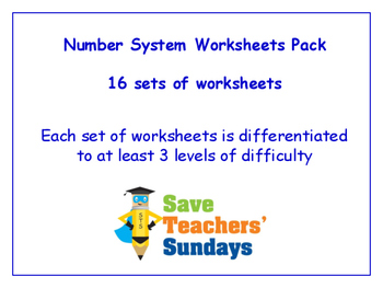 Number System Worksheets Bundle / Pack (16 sets for 1st - 2nd grade)