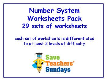 Number System Worksheets Bundle/Pack (29 sets for 2nd-4th grade)