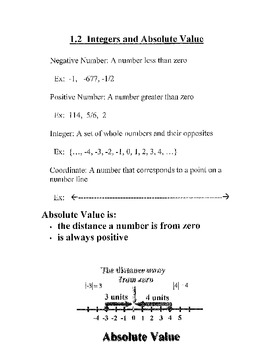 Number Systems, Absolute Value, Integers: Student and Teacher notes (WHOLE UNIT)