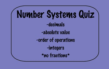 Number Systems Quiz
