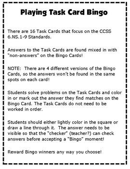 Number Systems Task Cards BINGO: 6.NS.1-8