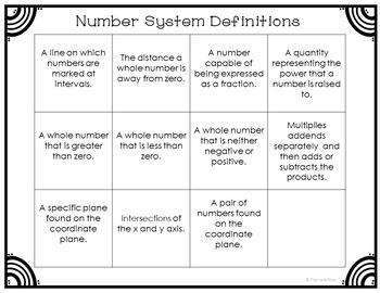 Number Systems Vocabulary Word Sort