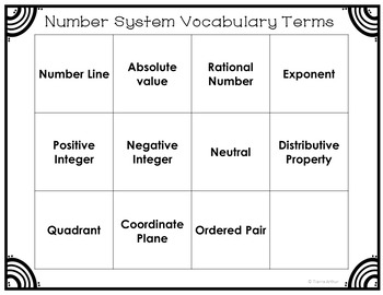 Number System Vocabulary Word Sort