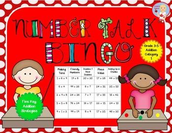 Number Talk Bingo - Addition Category 1