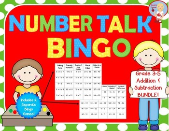 Number Talk Bingo Bundle - Addition and Subtraction Category 1