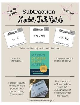 Number Talk Cards - Subtraction