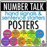 Number Talk Hand Signals and Sentence Starters Posters | EDITABLE
