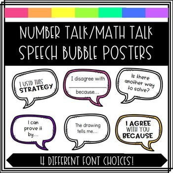 Number Talk Speech Bubble Posters
