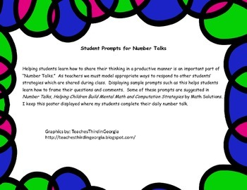 Number Talk Student Prompts