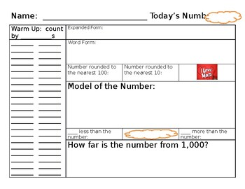 Number Talk Template