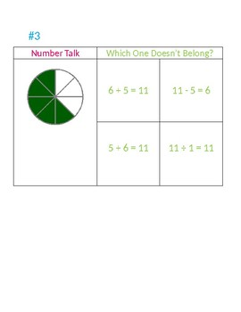 "Number Talk Warm Up & ""Which One Doesn't Belong?"""