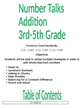 Number Talks 3rd to 5th Grade Addition