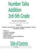 Number Talks 3rd to 5th Grade Addition FREE