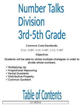 Number Talks 3rd to 5th Grade Division FREE