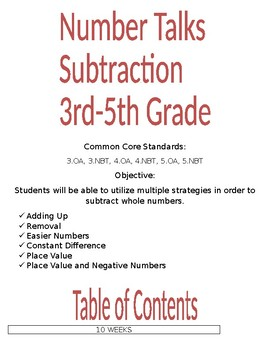 Number Talks 3rd to 5th Grade Subtraction FREE