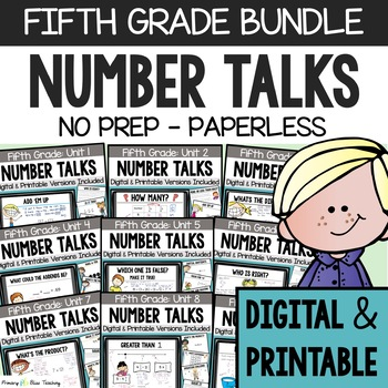 Number Talks ~ A Yearlong Program for Fifth Grade ~  Common Core Aligned