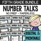 FIFTH GRADE Paperless Number Talks (DIGITAL & Printable) - A YEARLONG BUNDLE