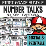 FIRST GRADE Paperless Number Talks (DIGITAL & PRINTABLE) - A YEARLONG BUNDLE