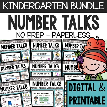 Kindergarten Number Talks - (DIGITAL and PRINTABLE) - A Yearlong Program