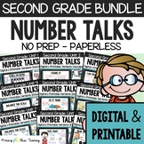 SECOND GRADE Paperless Number Talks (DIGITAL & Printable) - A YEARLONG BUNDLE