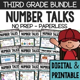 THIRD GRADE Paperless Number Talks (DIGITAL & Printable) - A YEARLONG BUNDLE