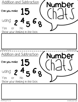 Number Chats Addition and Subtraction