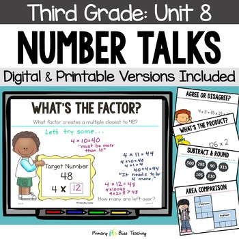 Number Talks - April of Third Grade- Common Core Aligned