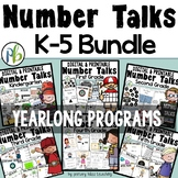 Number Talks Yearlong MEGA BUNDLE K-5  for Classroom and D