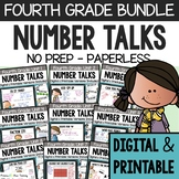 FOURTH GRADE Paperless Number Talks (DIGITAL & Printable) - A YEARLONG BUNDLE