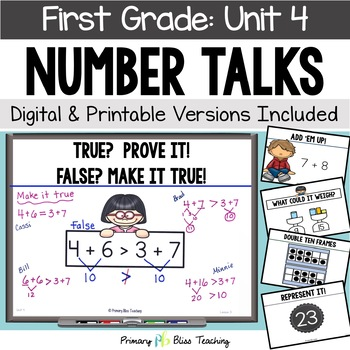 First Grade Number Talks - Unit 4 (DIGITAL and Printable)