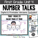 First Grade Paperless Number Talks - Unit 4 (DIGITAL and Printable)