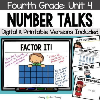 Number Talks / Math Talks ~ December of Fourth Grade ~ Common Core Aligned