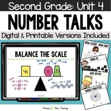 Second Grade Paperless Number Talks - Unit 4 (DIGITAL and Printable)