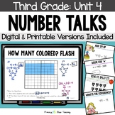 Third Grade Paperless Number Talks - Unit 4 (DIGITAL & Printable)