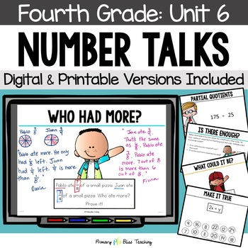 Fourth Grade Number Talks Unit 6 (DIGITAL and Printable)