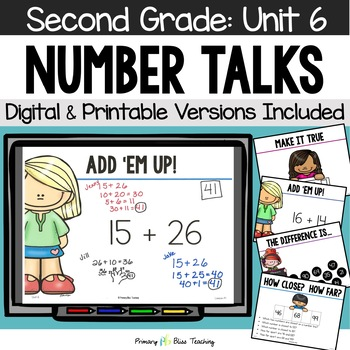 Number Talks / Math Talks ~ February of Second Grade ~ Common Core Aligned