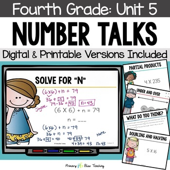 Number Talks / Math Talks ~ January of Fourth Grade ~ Common Core Aligned