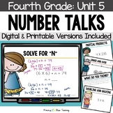 Fourth Grade Paperless Number Talks - Unit 5 (DIGITAL and Printable)