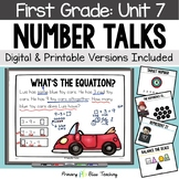 First Grade Paperless Number Talks - Unit 7 (DIGITAL and Printable)