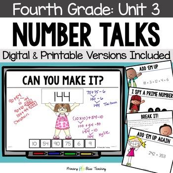 Number Talks / Math Talks ~ November of Fourth Grade ~ Common Core Aligned