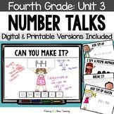 Fourth Grade Number Talks - Unit 3 (DIGITAL and Printable)