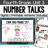 FOURTH GRADE Paperless Number Talks - Unit 3 (DIGITAL and Printable)