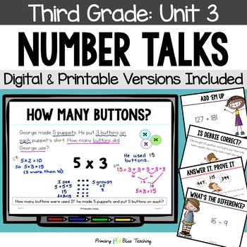 Third Grade Number Talks ~ Unit 3  (November) DIGITAL & Printable