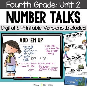Number Talks / Math Talks ~ October of Fourth Grade ~ Comm